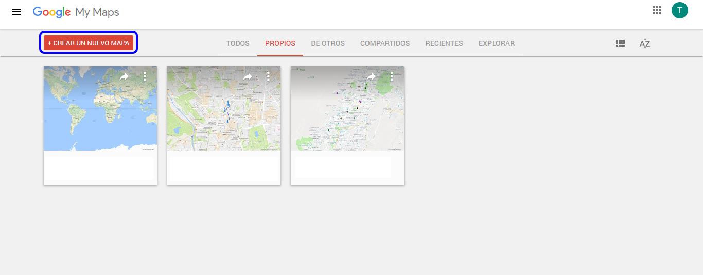 ¿Cómo hacer mapas personalizados de Google Maps? - Crear un nuevo mapa