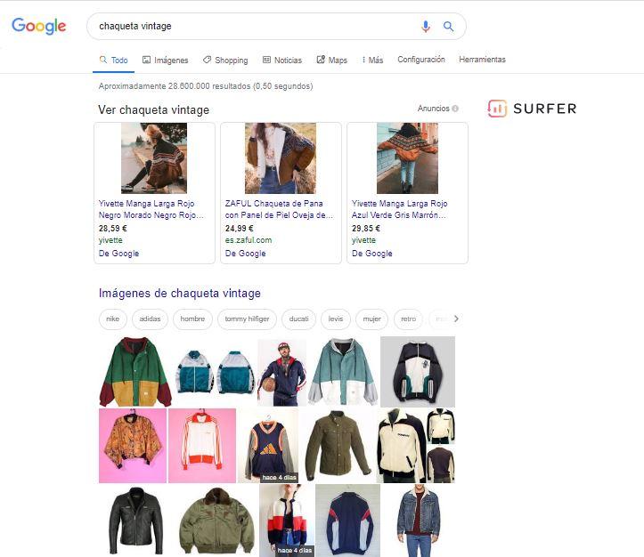resultado de búsqueda chaqueta vintage - SEO Moda