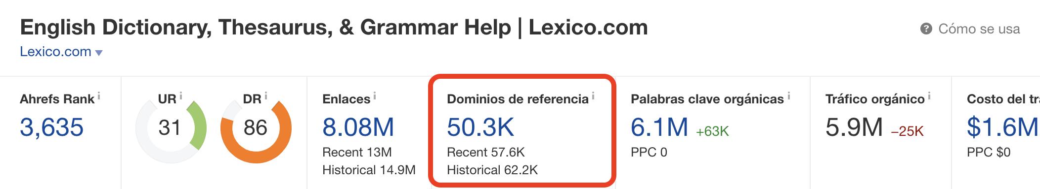 Lexico.com autoridad links