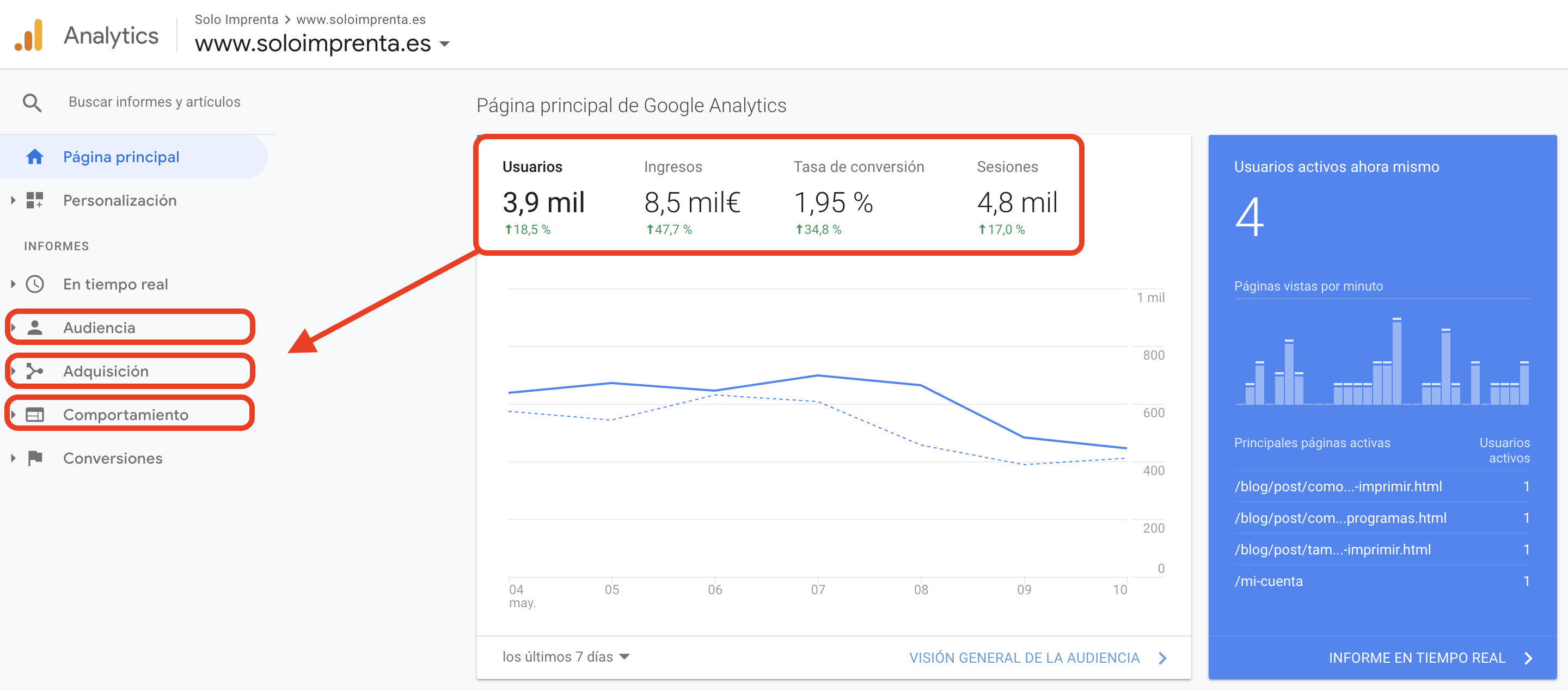 Google Analytics Comportamiento