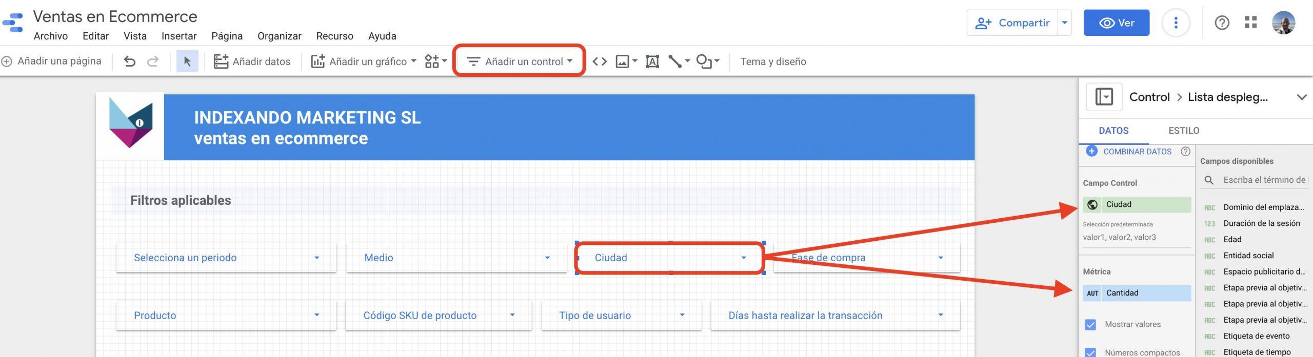 filtro en data studio