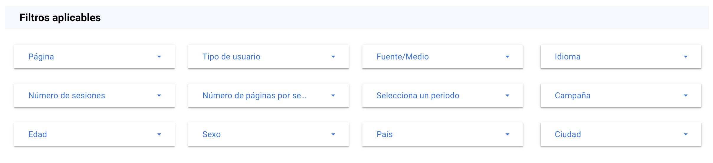 filtros para la estrategia de contenidos