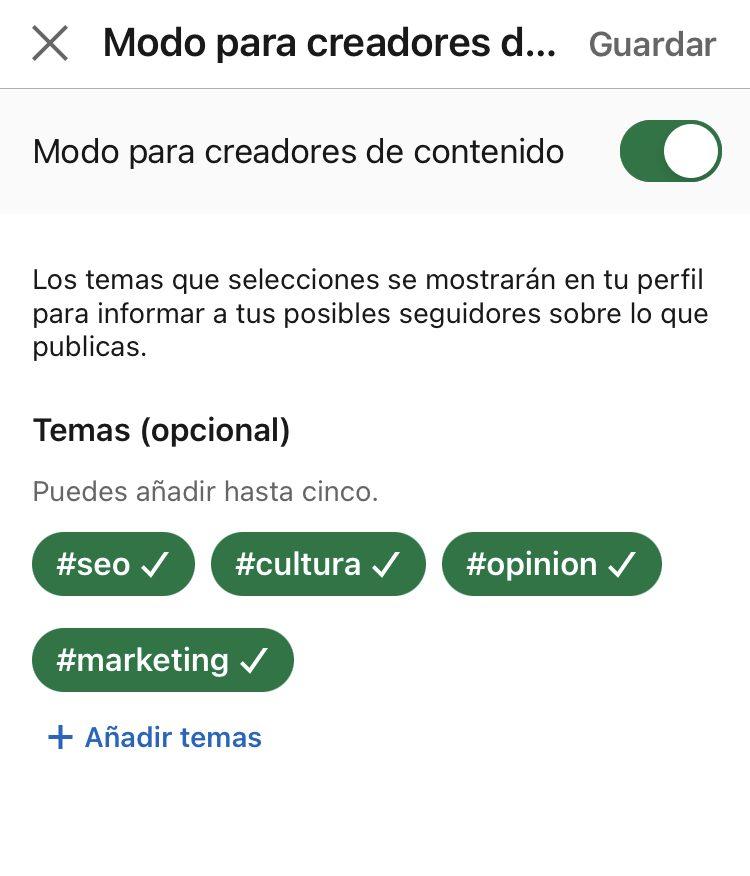 activar modo creador de contenidos mobile 3