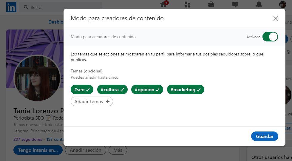 activar modo creador de contenidos Desktop 2