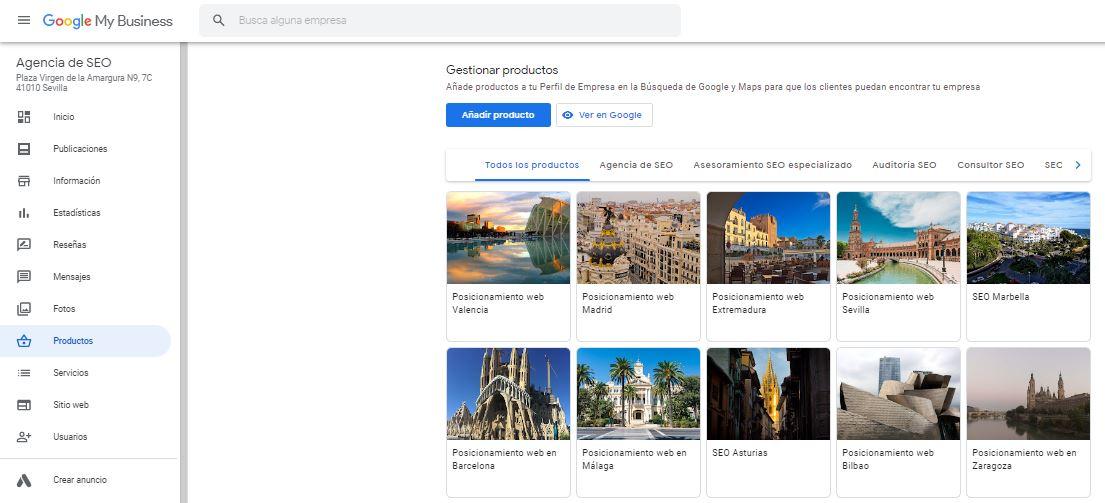 Apartado Productos en Google My Business