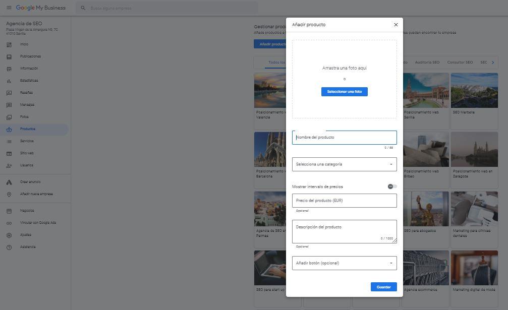 Añadir un producto en Google My Business