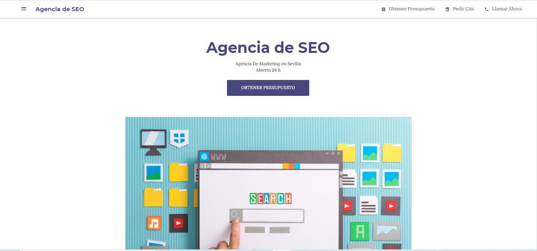 Web Negocio.site creada con Google My Business
