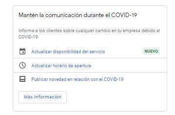 Información COVID-19 Google My Business