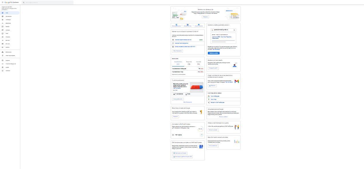 Panel de inicio en Google My Business
